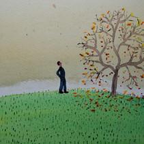 Man Watching Autumn Happening