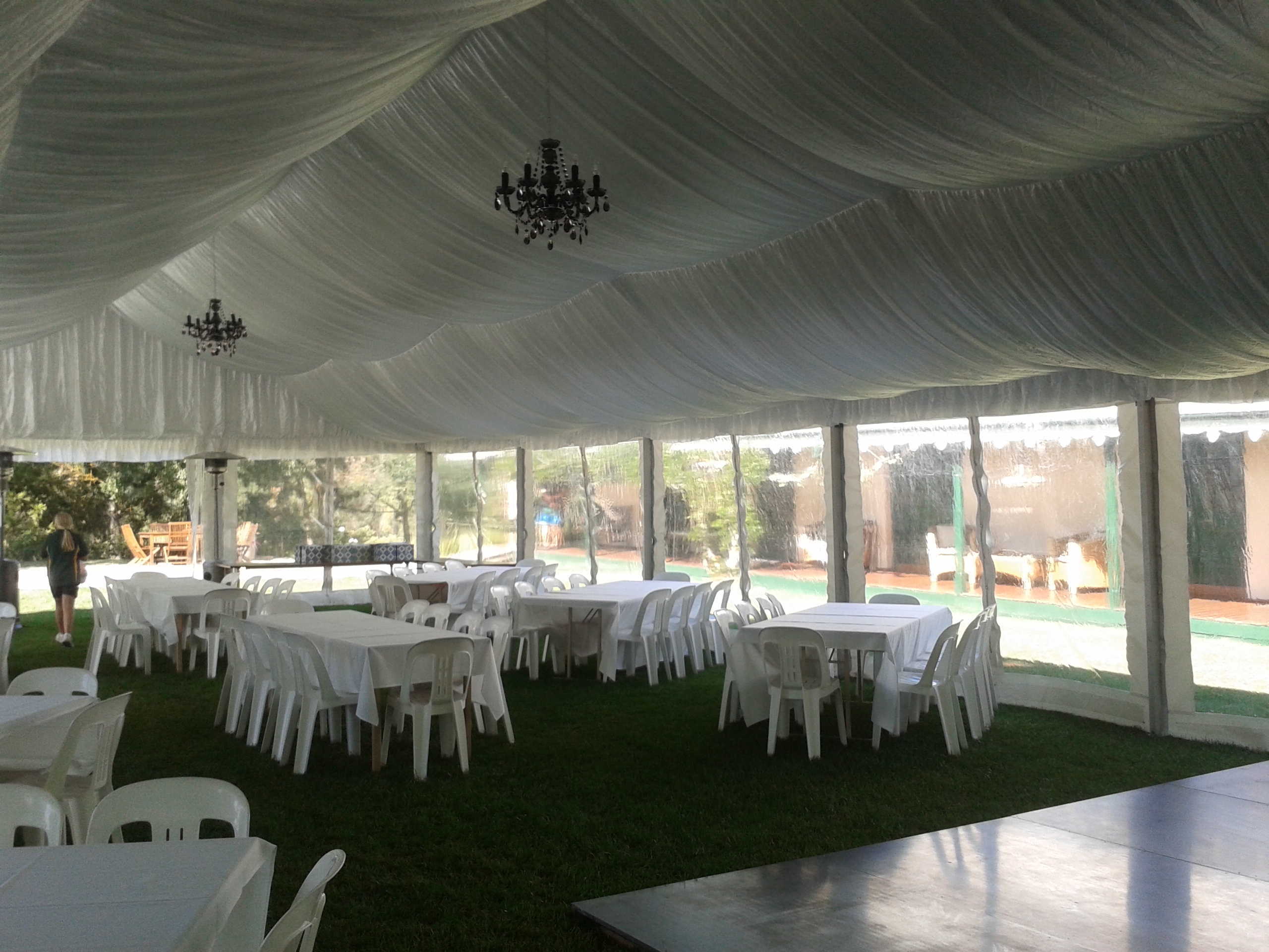 9m x 18m, chandeliers,silk,dance floor and clear walls