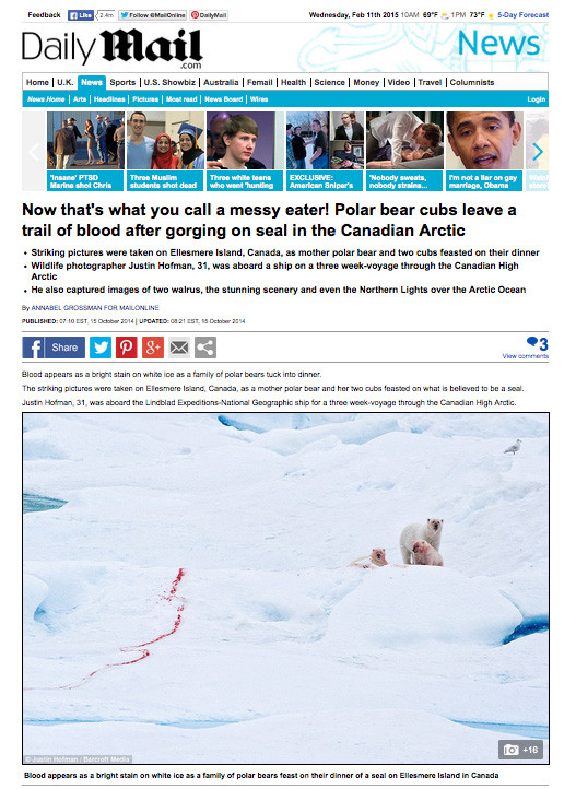 Photos from the Canadian High Arctic featured on Daily Mail