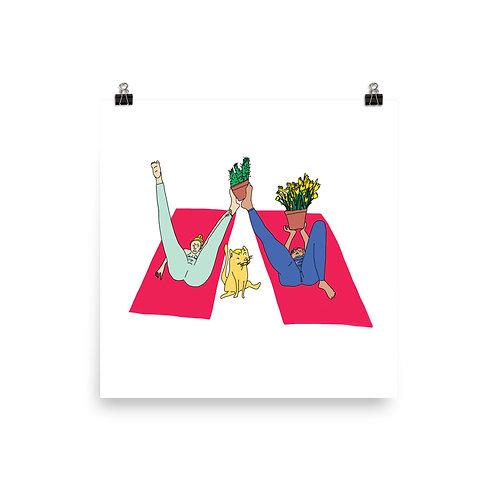 "Yoga Plants (12"" x 12"")"