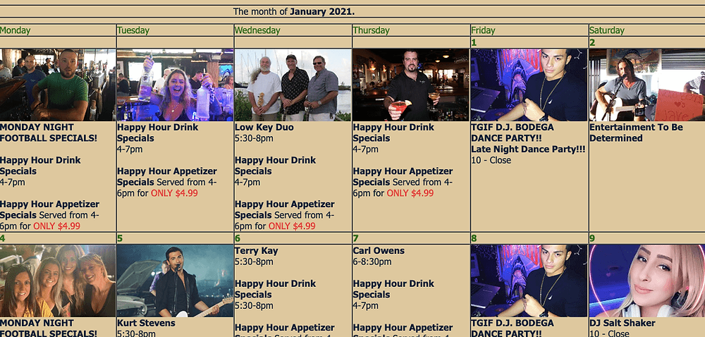 Live music calendar at Riverside Cafe in Vero