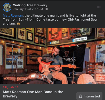 Live music at Walking Tree Brewery in Vero Beach