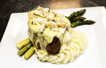 An entree from Djon's Steak and Lobster house, a waterfront seafood restaurant in Melbourne Beach, FL
