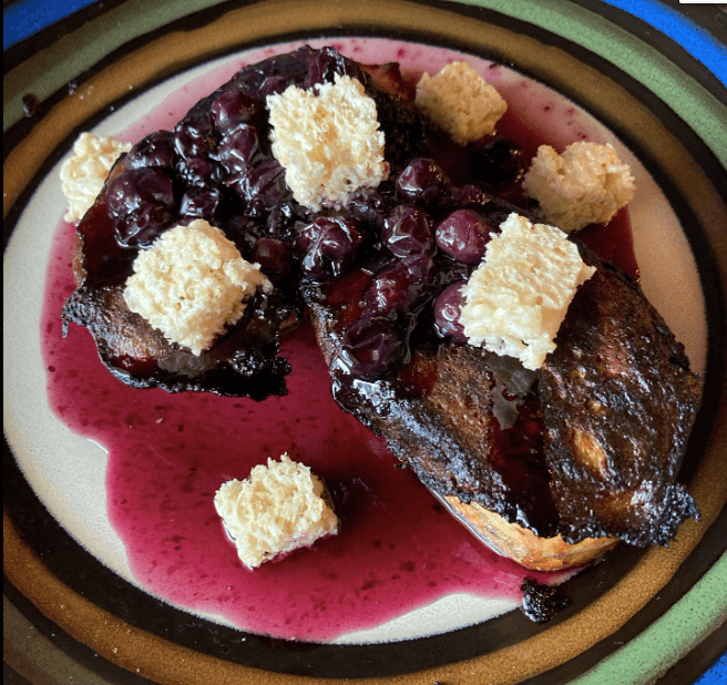 Blueberry french toast with Rice Krispy Treats at Flavor Kitchen