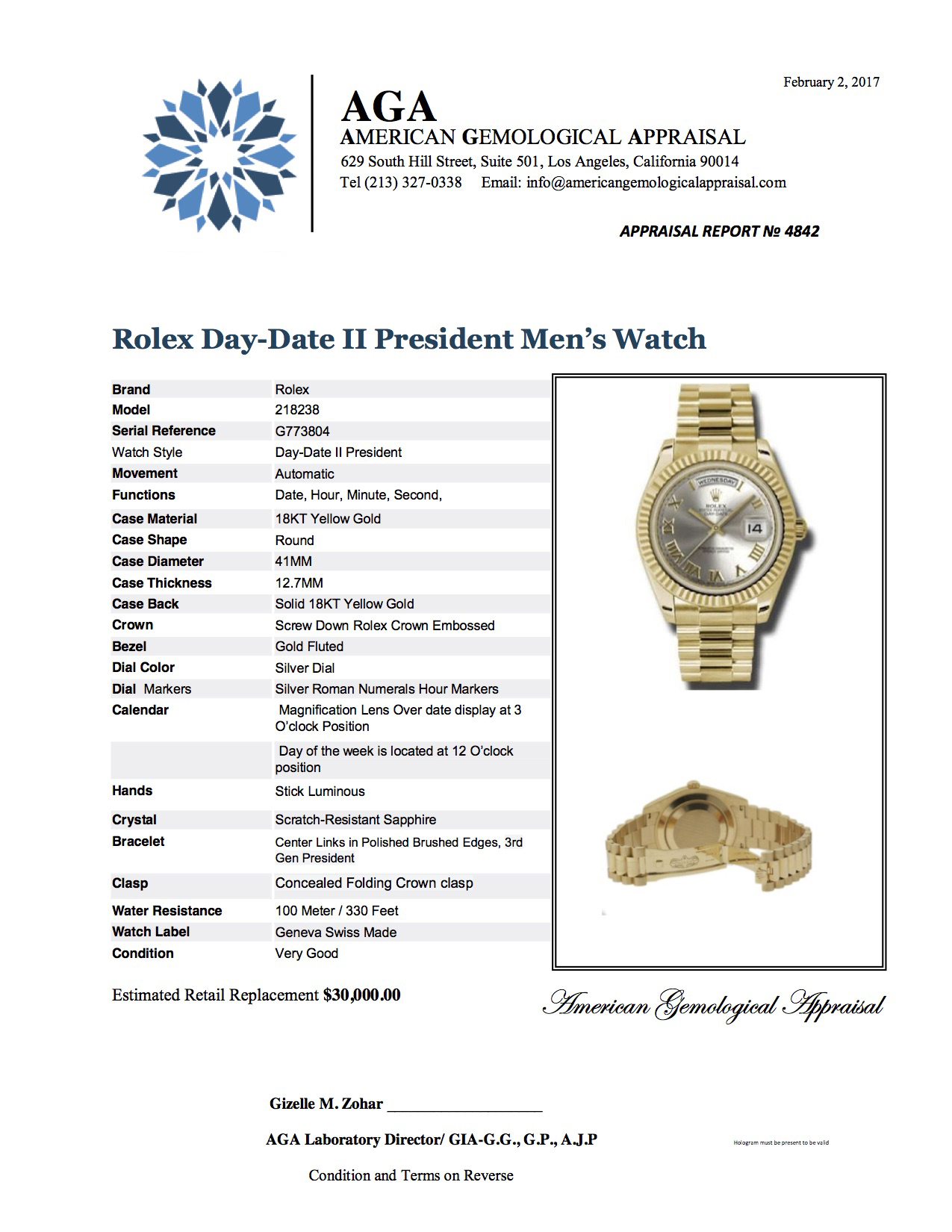 4842 DAY DATE II PRESIDENT 218283