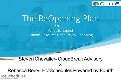Recorded Webinar May 21, 2020 The ReOpening Plan PART II