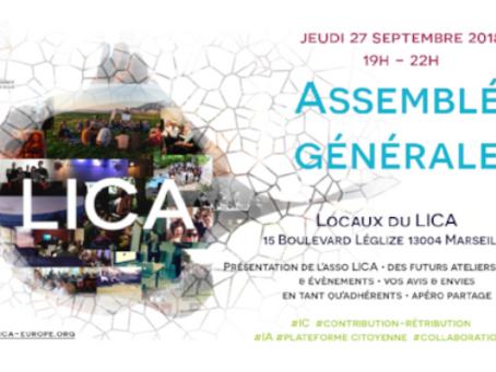 Assemblée Générale 2018 de l'Association du LICA le jeudi 27 Septembre 2018 à 19h