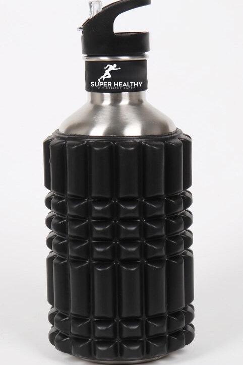 EVA Foam Massage Roller Stainless Steel Water Bottle Combo Hydration 1.2L Black