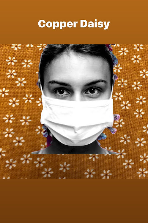 100% COTTON RE-USEABLE MASK (Copper Daisy)