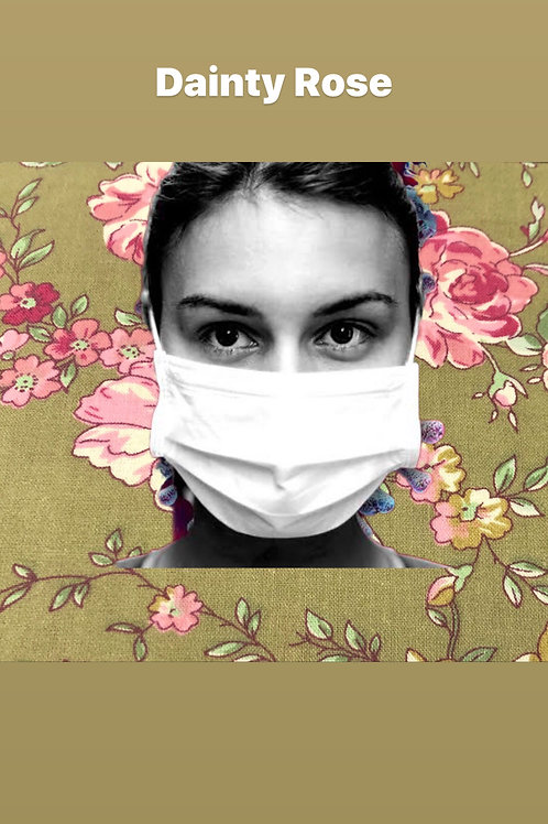 100% COTTON RE-USEABLE MASK - (Dainty Rose)