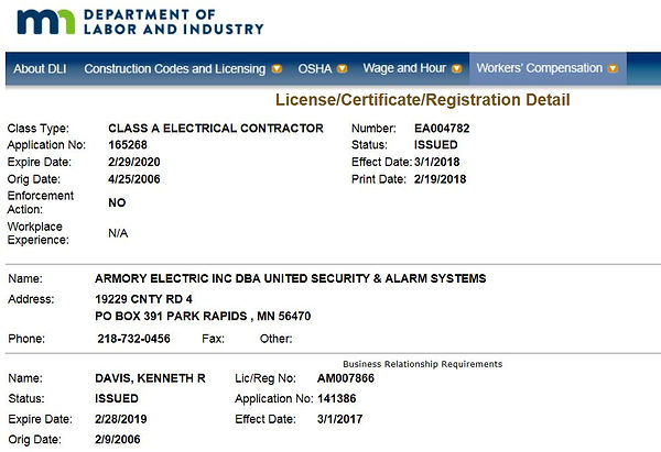 Armory Electric, Inc License