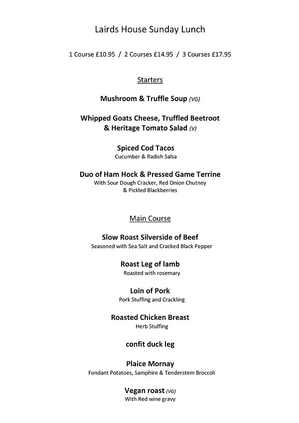 Lairds House Lairds Sunday Lunch Menu Se