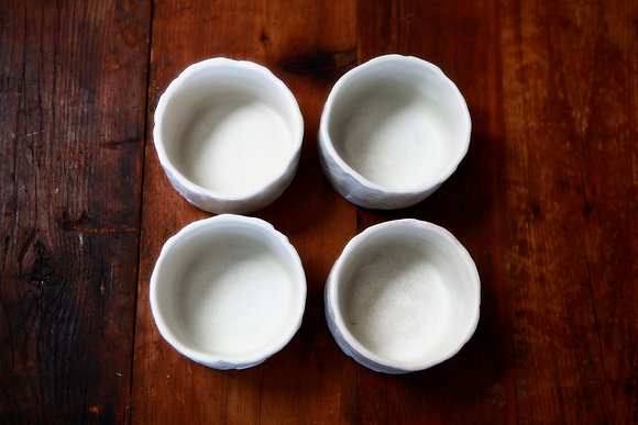 Porcelain Cups in Snow - Set of 4
