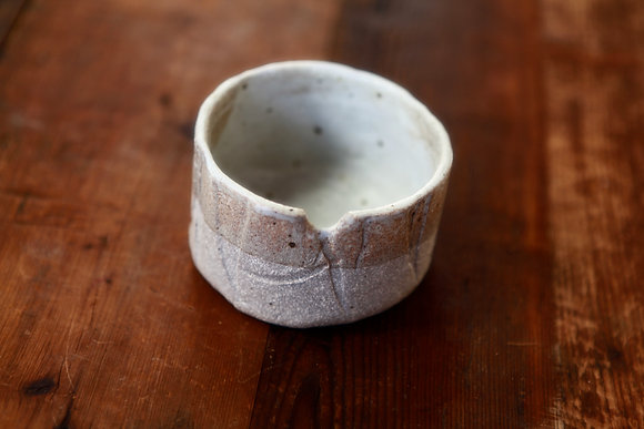Cup in Milky Stone with Notch