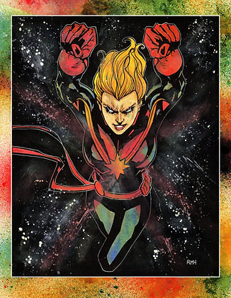 "Captain Marvel  - 9"" x 12"""