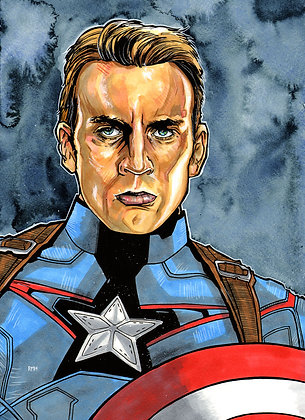 Captain America - Chris Evans - 11x15 Painting