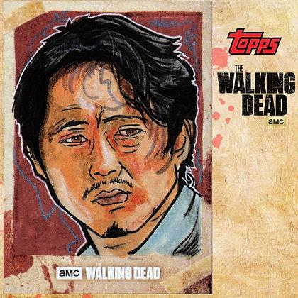 The Walking Dead: Hunters & Hunted-  Original Sketch Card - Glenn