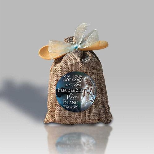 Fleur de Sel du Pays Blanc Sachet lin + cuillère bois