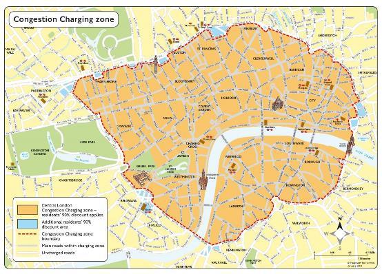 图1 伦敦拥堵收费区