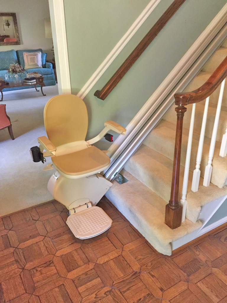 Stair lift installed on steps with no permanent changes to the stairway.
