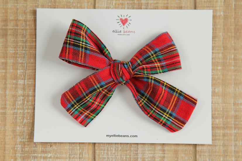 Tartan Plaid Hand-tied Hair Bow, Baby Headband, Cotton Fabric Hair Clip