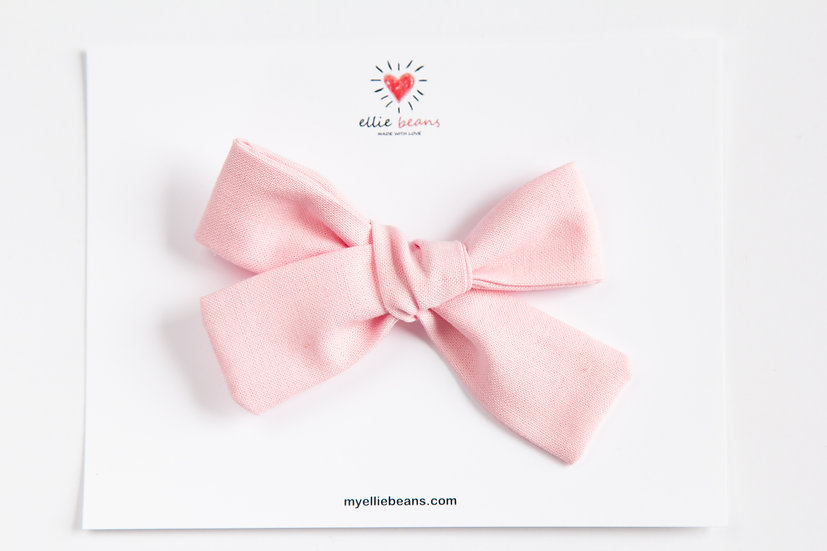 Pink Bow, Solid Pink Bow, Cotton Fabric Hair Clip, Soft Pink Bow, Easter Bow