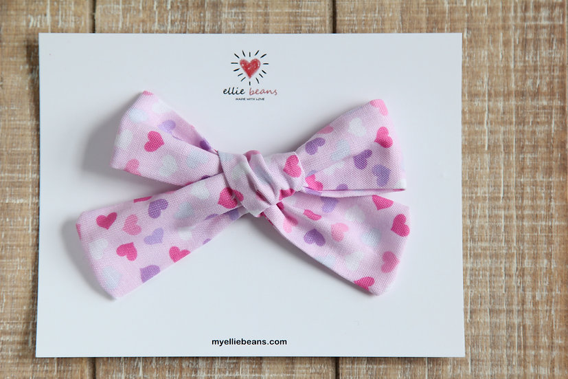 Pink Hearts Hand-tied Baby Hair Bow, Valentine Bows, Soft Cotton Baby Headband
