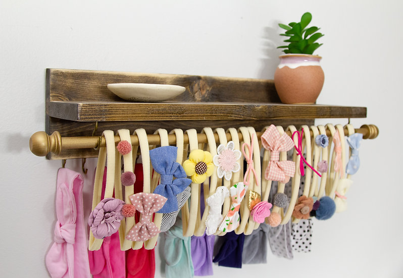Headband and Bow Holder Shelf with Rod and Hooks