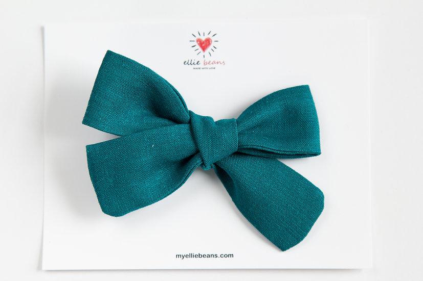 Teal Blue Hand-tied Hair Bow, Linen Fall Baby Headband, Linen Hair Clip