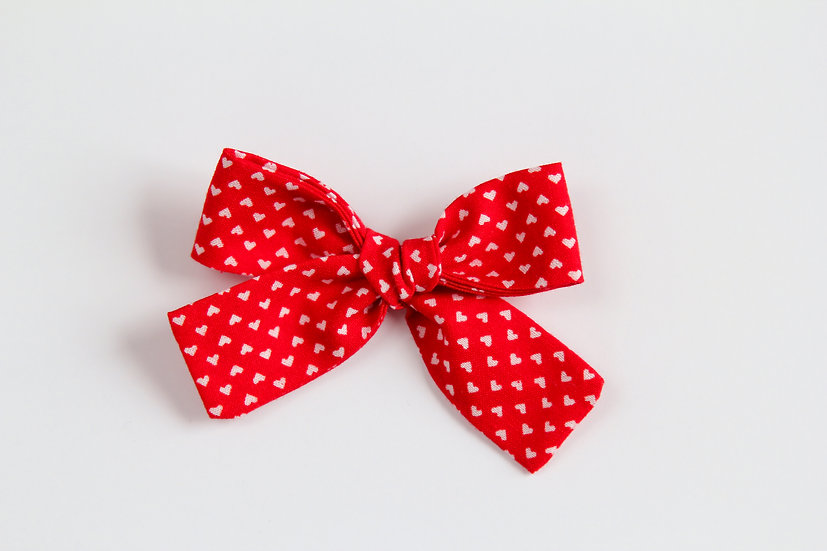 Red and White Heart Hand-tied Baby Hair Bow, Valentine Bows, Baby Headband