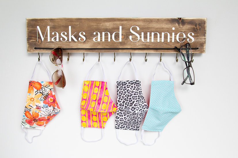 Sunglasses and Mask Holder, Personalized Hand Painted, Entryway Organizer