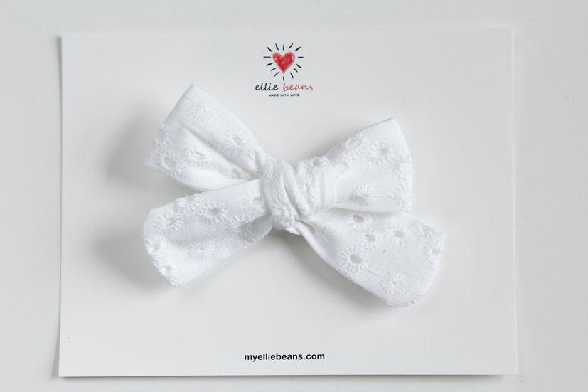 White Lace Bow, Christening Bow, Baptism Headband, Christening Headband