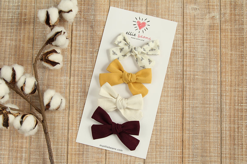Bee Bow, Baby Girl Headbands and Bows, 4 Pack of Hair Accessories
