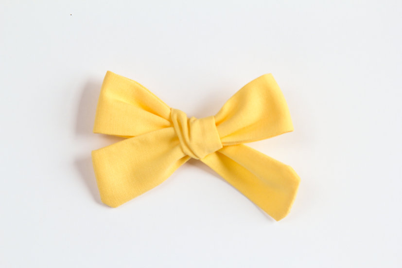 Canary Yellow Hand-tied Baby Hair Bow, Baby Headband
