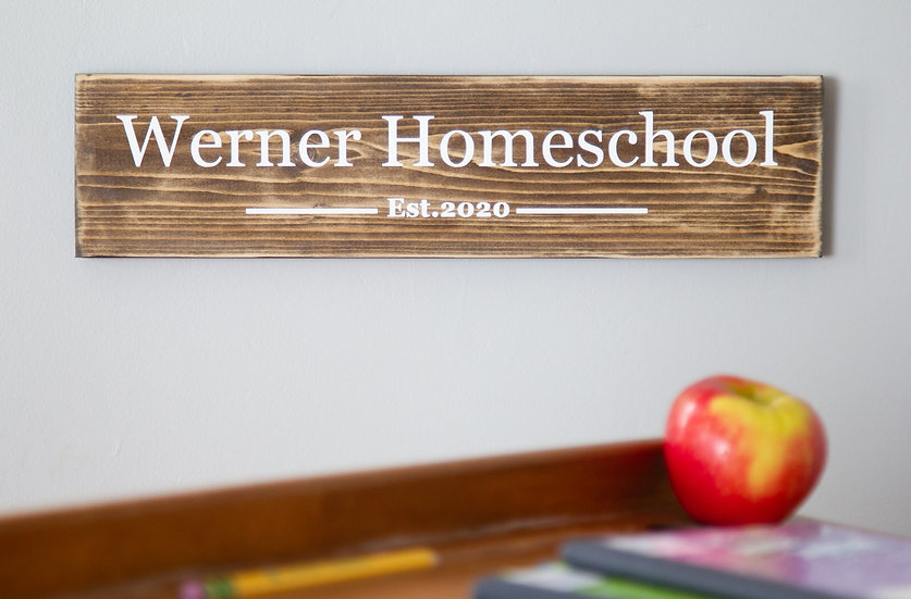 Personalized Homeschool Sign, Distance Learning, Custom Hand Painted