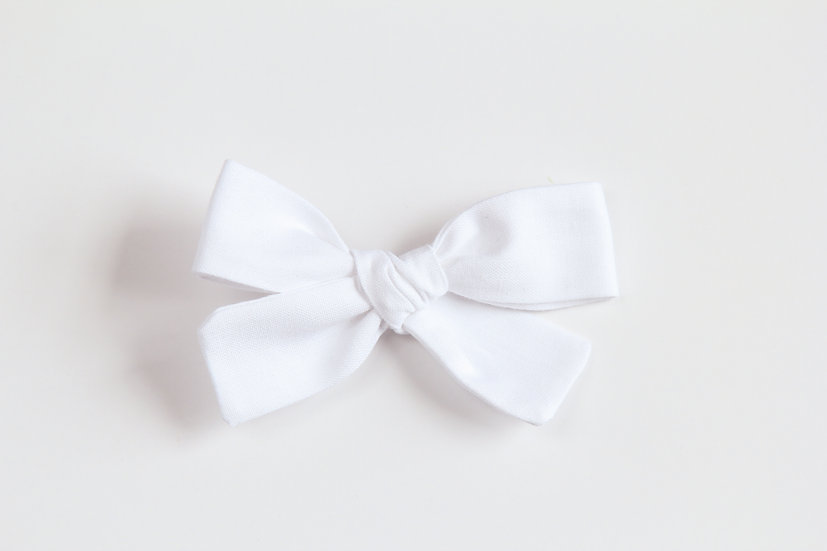 Simply White Hand-tied Baby Hair Bow, Valentine Bows, Soft Cotton Baby Headb