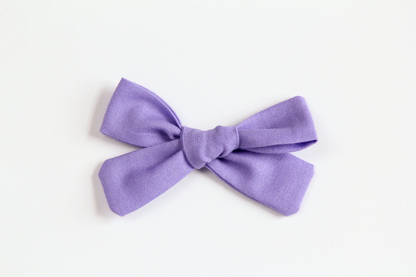 Lavender Hand-tied Baby Hair Bow, Valentine Bows, Soft Cotton Baby Headband