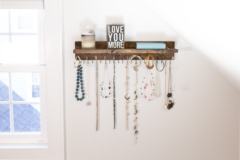 Wall Jewelry Organizer With Shelf, Bracelet and Earring holder