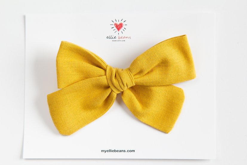 Mustard Yellow Bow, Mustard Hair Bow, Linen Baby Headband, Bee Bow