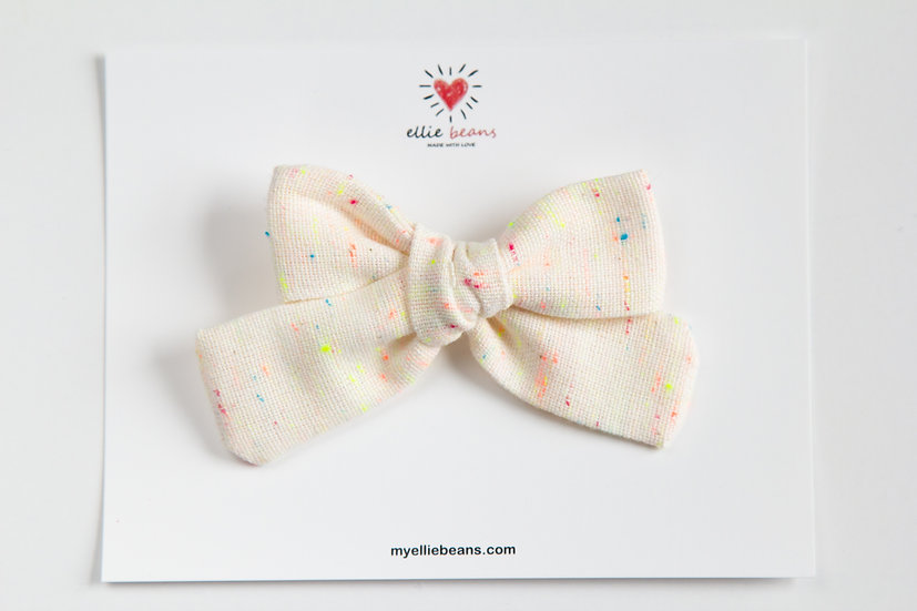 Cream with Rainbow Speck Bow, Spring Baby Bow, One of a Kind Bow, Baby Headband