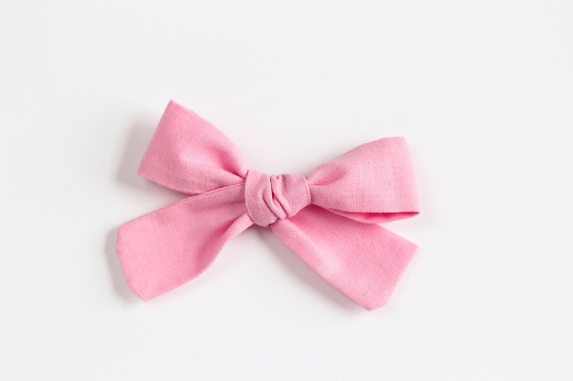 Classic Pink Hand-tied Baby Hair Bow, Valentine Bows, Soft Cotton Baby Headband