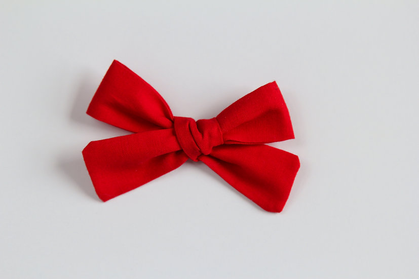Scarlet Red Hand-tied Baby Hair Bow, Valentine Bows, Soft Cotton Baby Headband