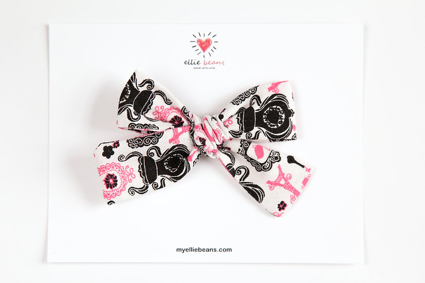 Black White and Pink Bow, Black and White Bow, Eiffel Tower Bow, Paris Hair Bow