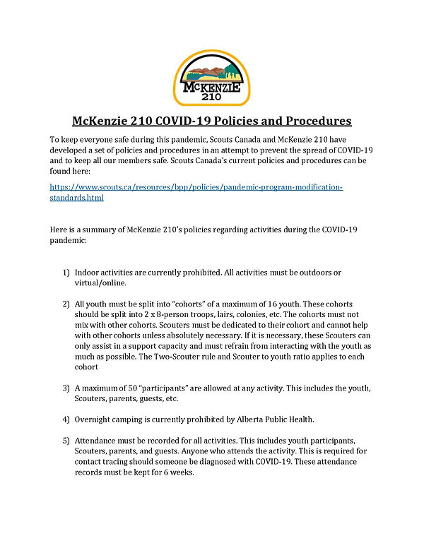 McKenzie 210 COVID Policies and Procedur