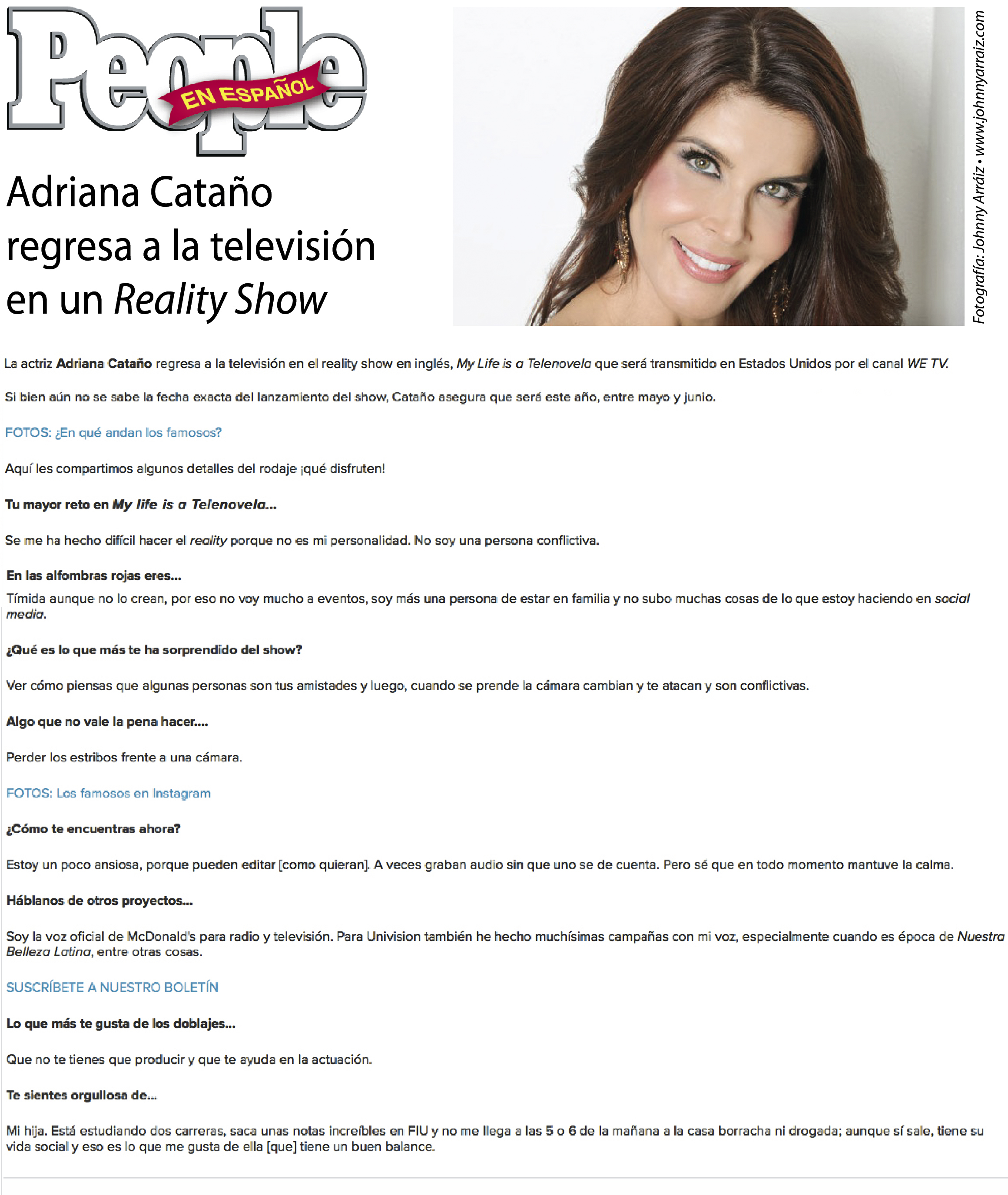 Entrervista Adriana Catano People