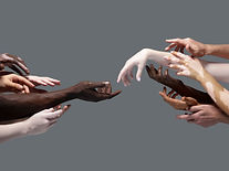 Creation of Adam. Hands of different peo