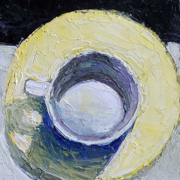 Coffee Cup in Violet and Yellow
