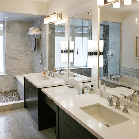 Custom ensuite bathroom with double sinks