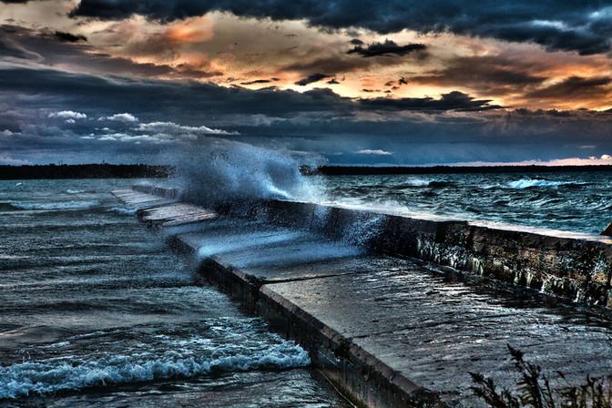 Port Elgin Breakwall in Storm