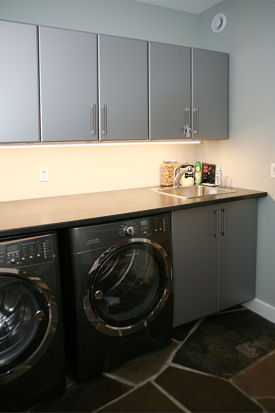 Cabinets Above Washer And Dryer In Custom Home Port Elgin On